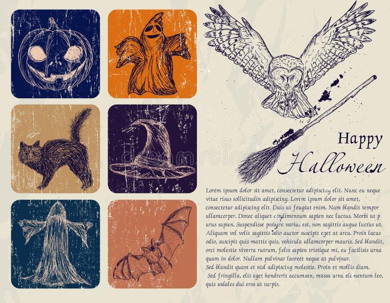 Плакат Halloween сбора винограда. иллюстрация штока