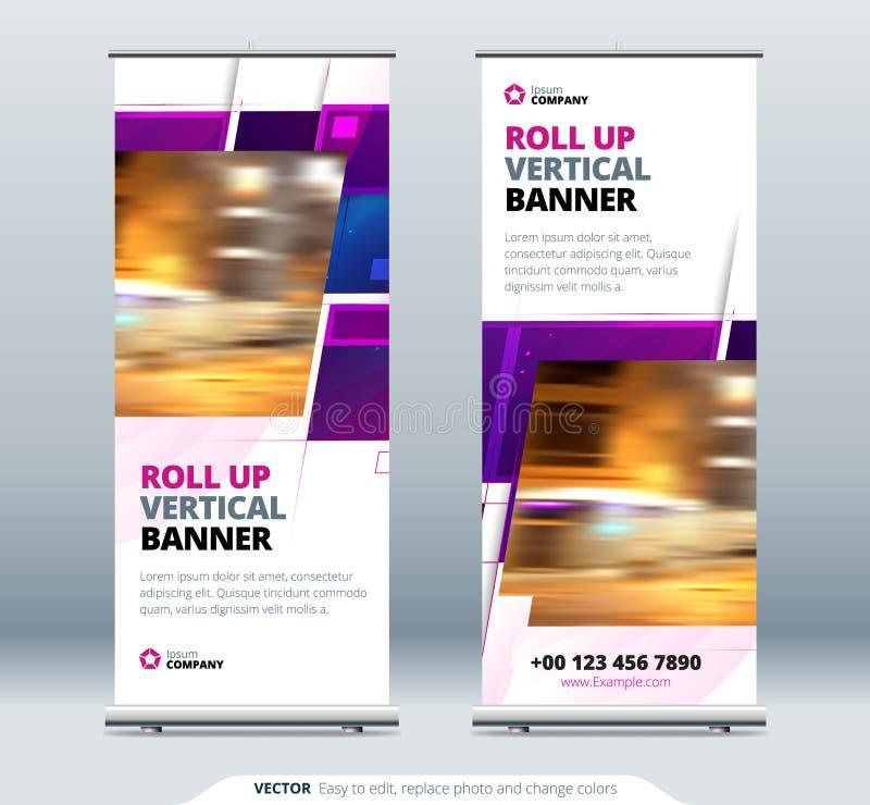 Плакат Purple Business Roll Up Абстрактная свертка фона для презентации Вертикальная свертка, x-подставка, выставка иллюстрация штока