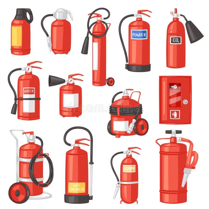 Пламегаситель вектора огнетушителя для безопасности и защиты для того чтобы потушить комплект иллюстрации огня  бесплатная иллюстрация