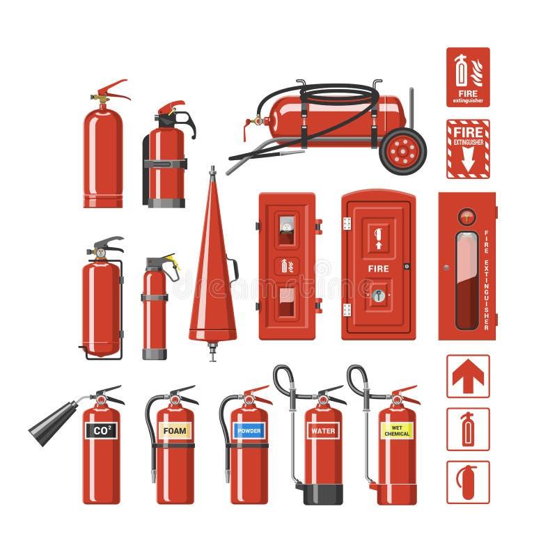 Пламегаситель вектора огнетушителя к для безопасности и защите для того чтобы потушить комплект иллюстрации огня  иллюстрация штока