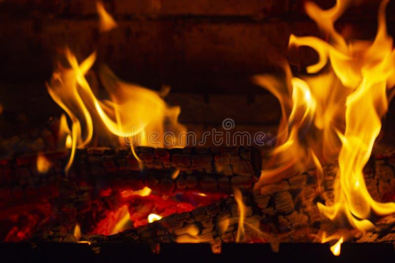Пламена и угли в камине стоковая фотография