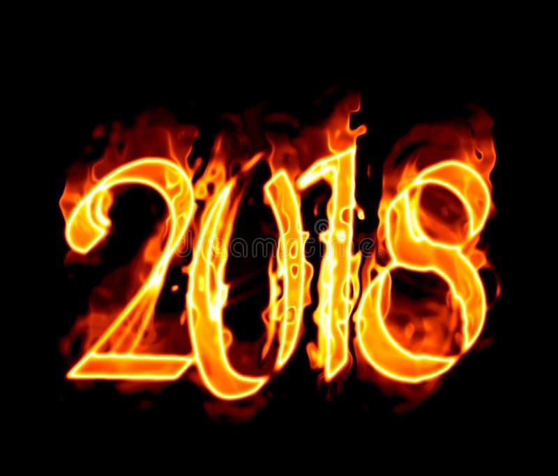 2018 пламенеющих номеров на черноте иллюстрация вектора