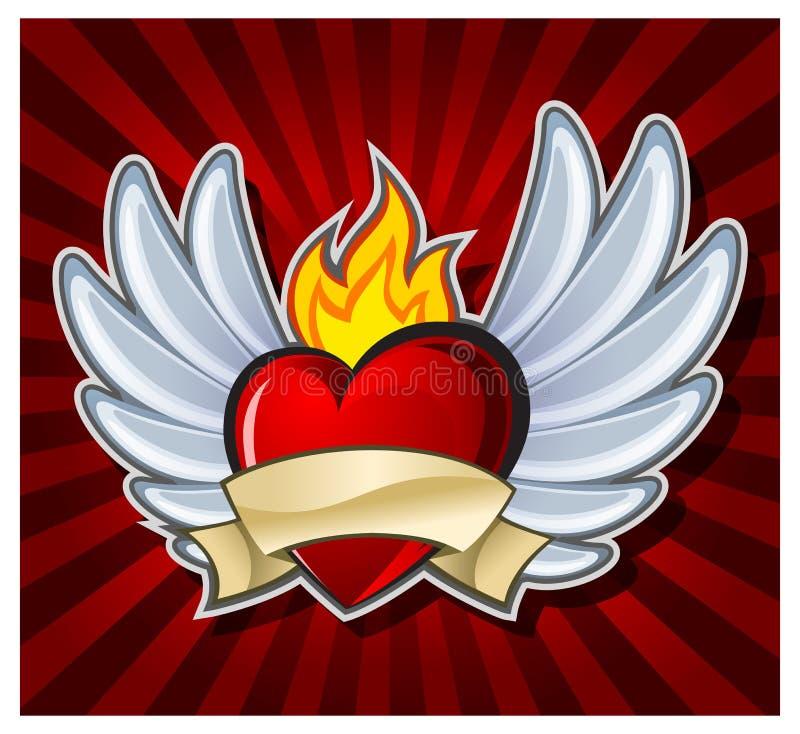 пламенистое сердце иллюстрация вектора