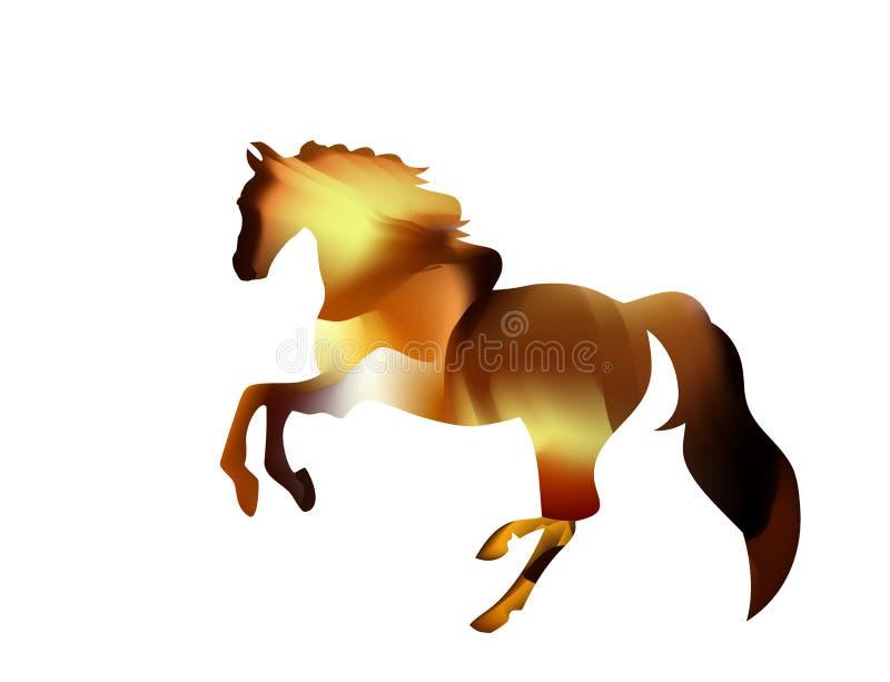 Пламенистый силуэт арабского жеребца красные бега лошади на огне иллюстрация вектора