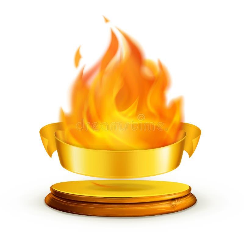 пламя золотистое иллюстрация вектора