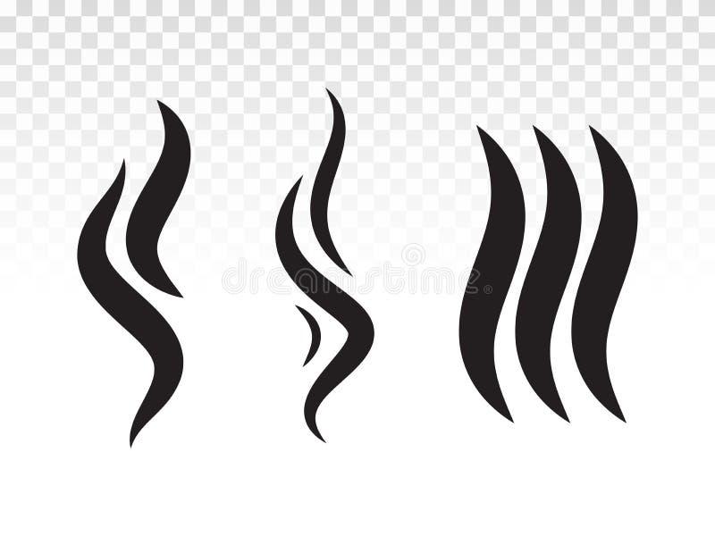 Пламя или нюх дыма BBQ дымят значком пара иллюстрация вектора