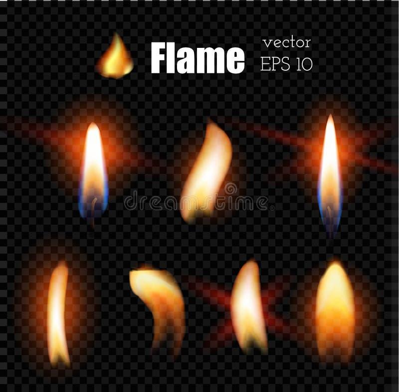 Пламя лихтера огня свечи вектора реалистическое иллюстрация вектора