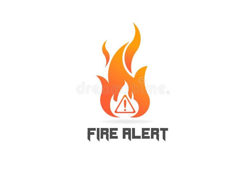 Пламя огня с знаком опасности Символ логотипа вектора иллюстрация вектора