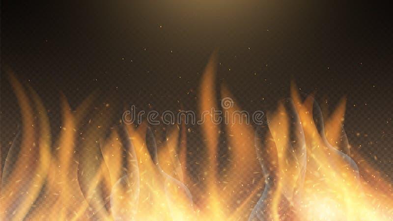 Пламя огня Фоновый эффект векторного огня Красное жжение зажжет фон иллюстрация вектора