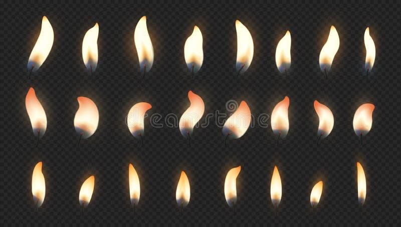 Пламя свечи Реалистические световые эффекты огня для свечи горения именниного пирога Набор света горящей свечи вектора изолирован бесплатная иллюстрация