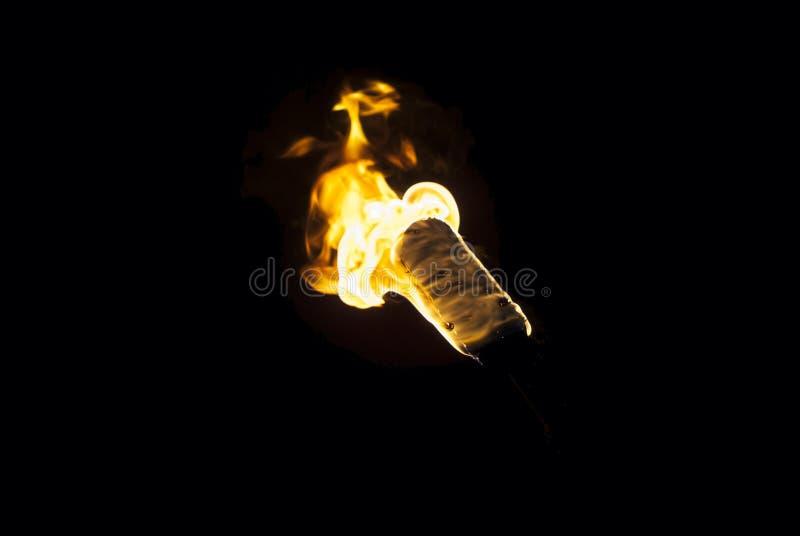 Пламя факела в темноте стоковые фото