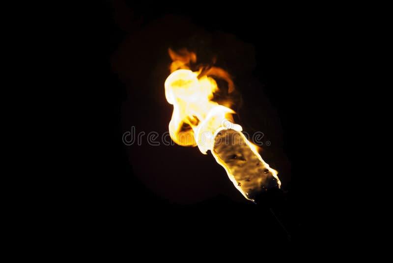 Пламя факела в темноте стоковое фото rf