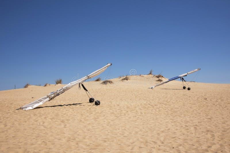 Планеры вида в песчанных дюнах стоковые изображения rf
