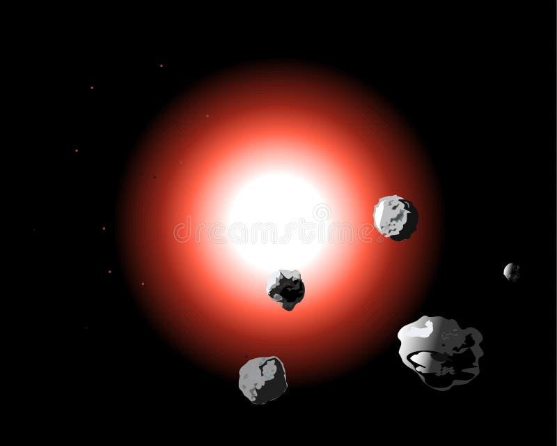 Планета в космосе с астероидной опасностью также вектор иллюстрации притяжки corel бесплатная иллюстрация