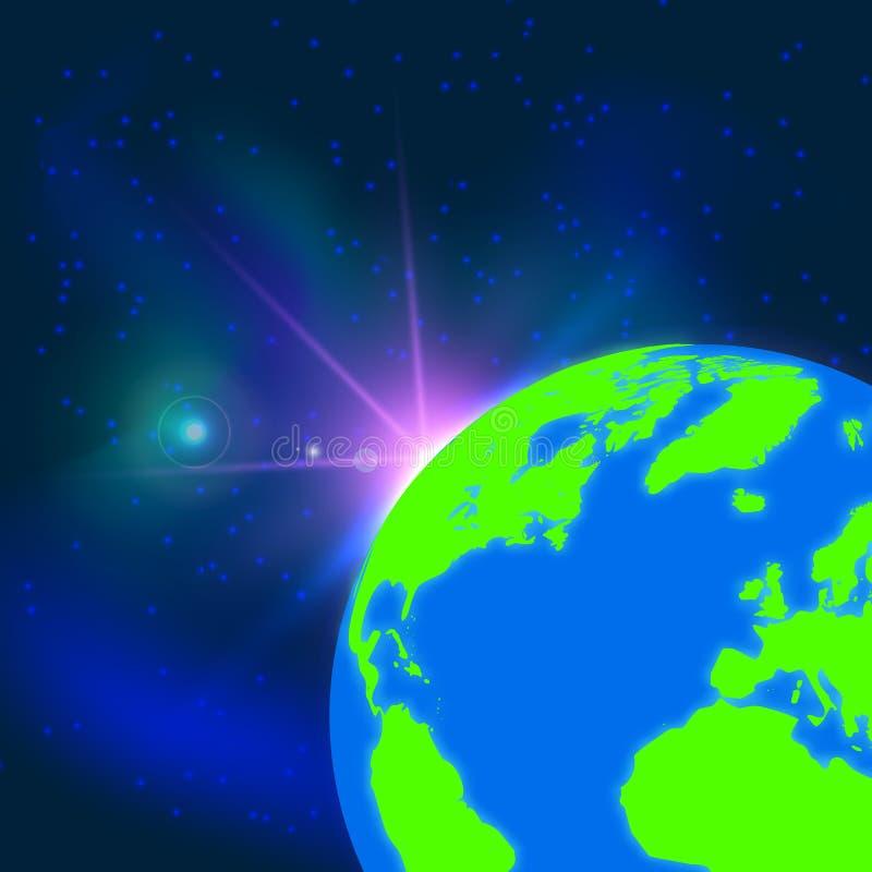 Планета земли в космосе Восход солнца Голубая предпосылка земли глобуса также вектор иллюстрации притяжки corel иллюстрация вектора