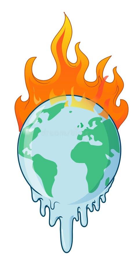 Планета земли горящая горит предупреждение бедствия иллюстрация вектора
