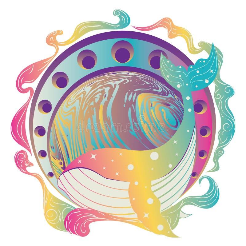 Планета кита и мрамора иллюстрация вектора