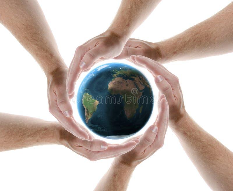 Планета круга руки защищая стоковые изображения rf