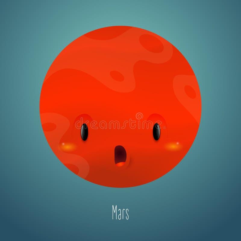 Планета Марс на заднем плане космоса Милый смешной характер иллюстрация штока