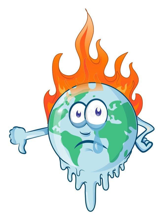 Планета мультфильма земли горящая горит предупреждение бедствия иллюстрация штока