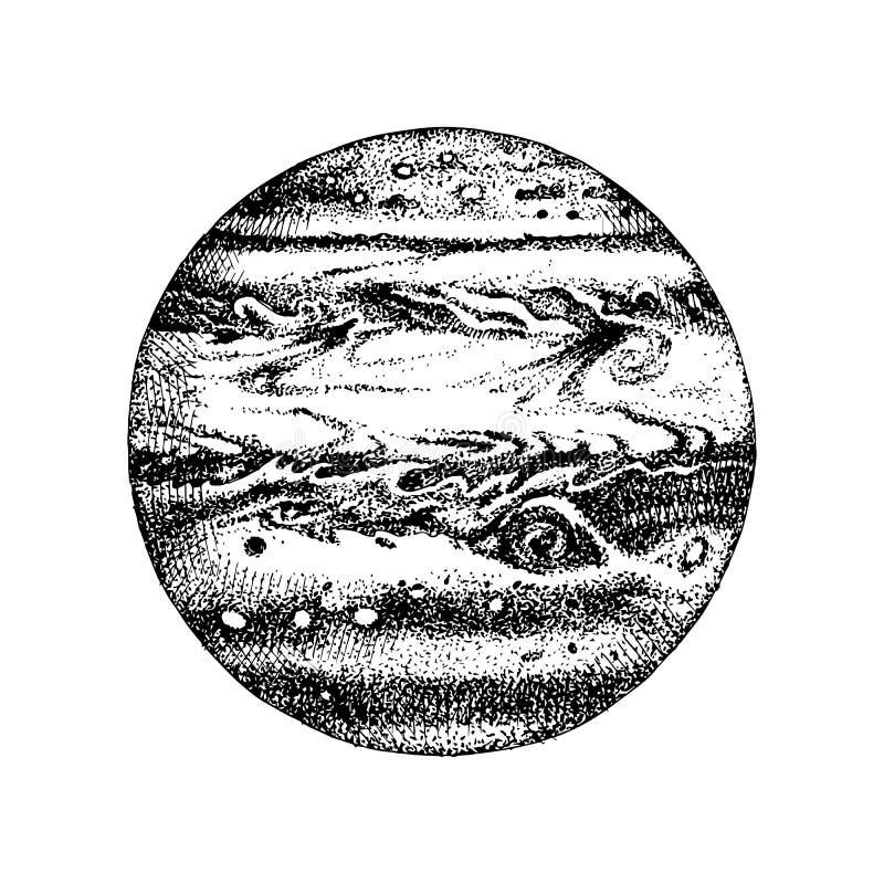 Планета нарисованная рукой Юпитер иллюстрация вектора