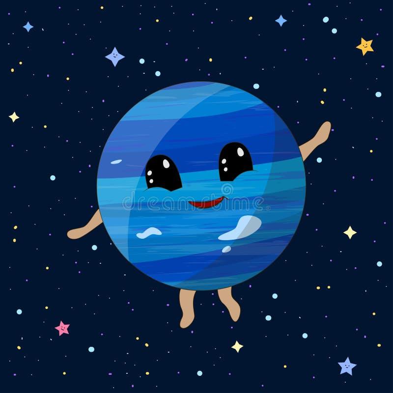 Планета Нептуна мультфильма на предпосылке космоса, иллюстрации вектора бесплатная иллюстрация