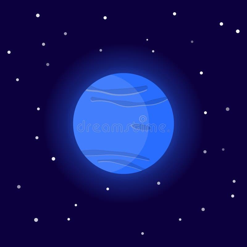 Планета Нептун Иллюстрация вектора мультфильма на космической предпосылке иллюстрация штока