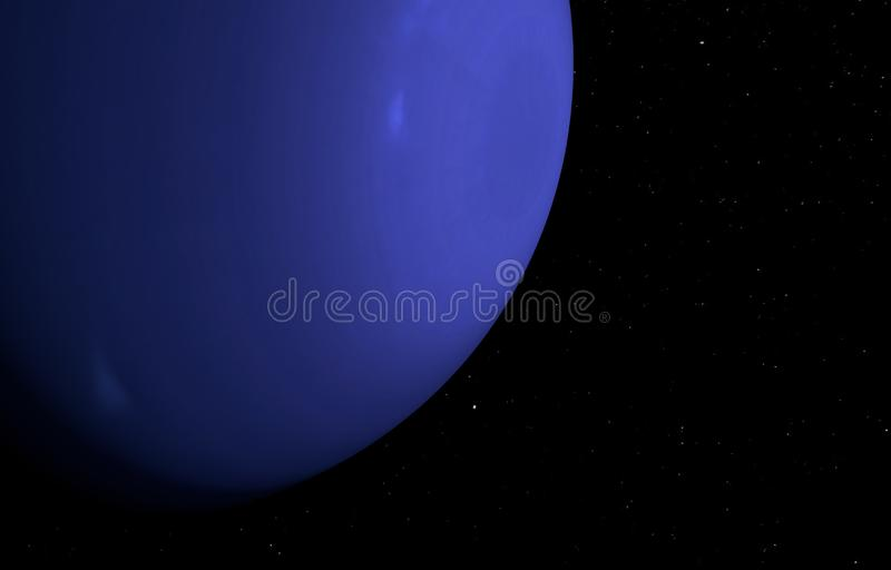 Планета Нептун на предпосылке звезд иллюстрация 3d иллюстрация вектора