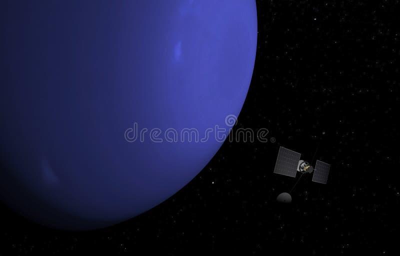 Планета Нептун на предпосылке звезд иллюстрация 3d иллюстрация штока