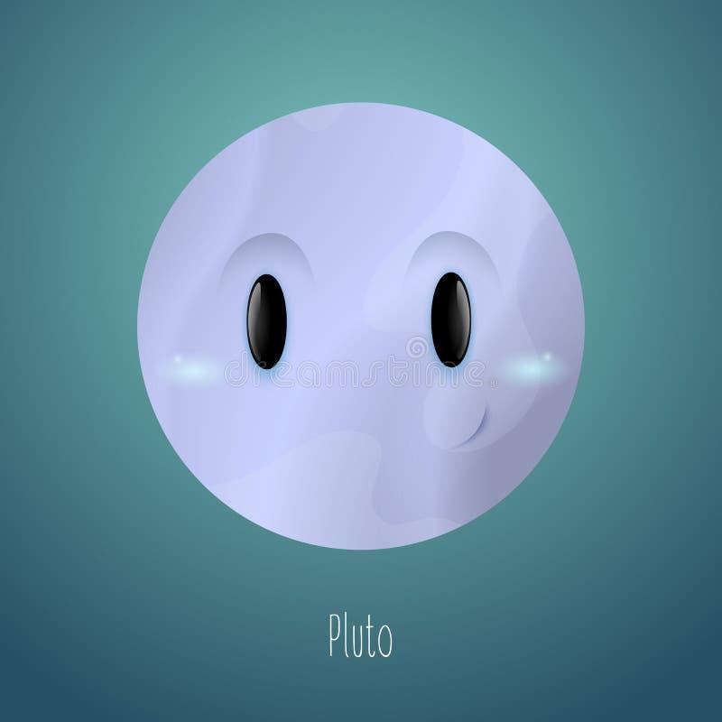 Планета Плутон на заднем плане космоса Милый смешной характер иллюстрация штока