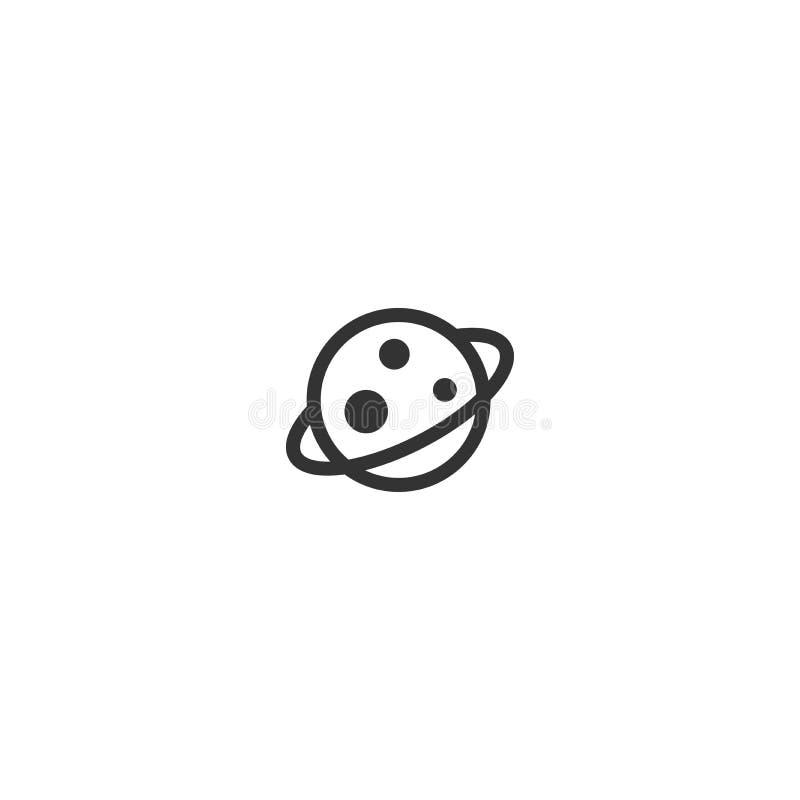 Планета Сатурн или Юпитер Черная линия значок изолированный на белизне Космос, вселенная, знак космоса иллюстрация штока