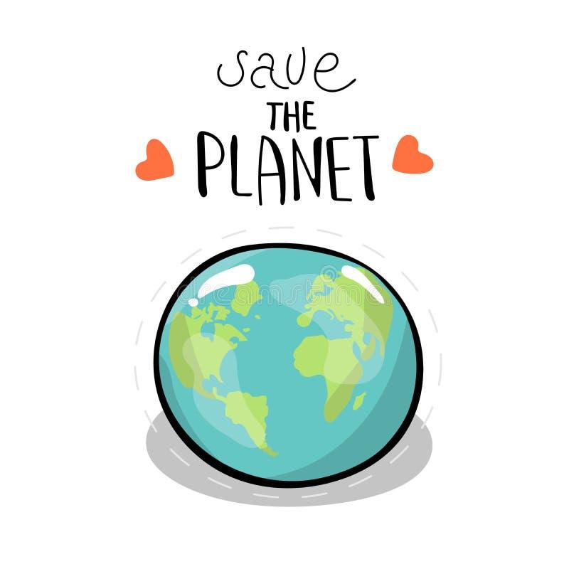планета сохраняет белизна вектора акулы иллюстрации предпосылки Глобус земли литерность Концепция энергосберегающего и экологично бесплатная иллюстрация
