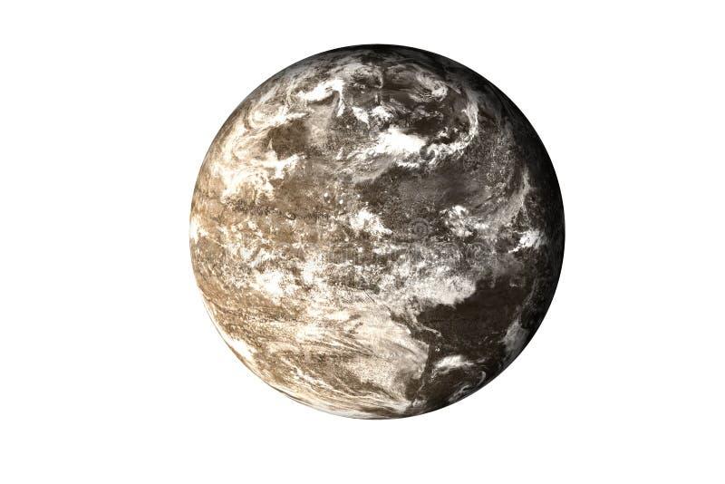 Планета темного утеса мертвая с атмосферой в космосе изолированном на белизне стоковые фотографии rf