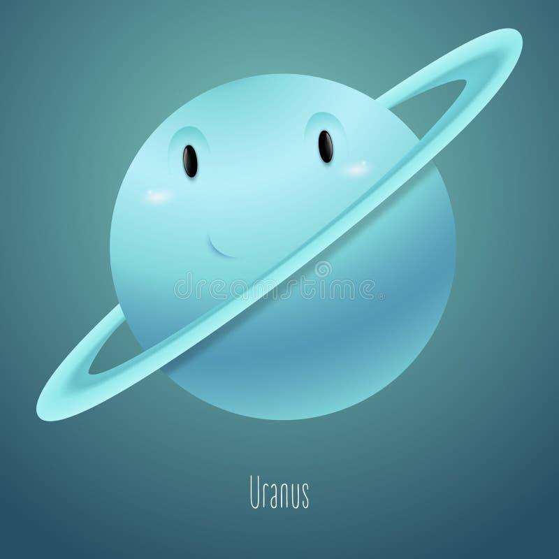 Планета Уран на заднем плане космоса Милый смешной характер иллюстрация штока
