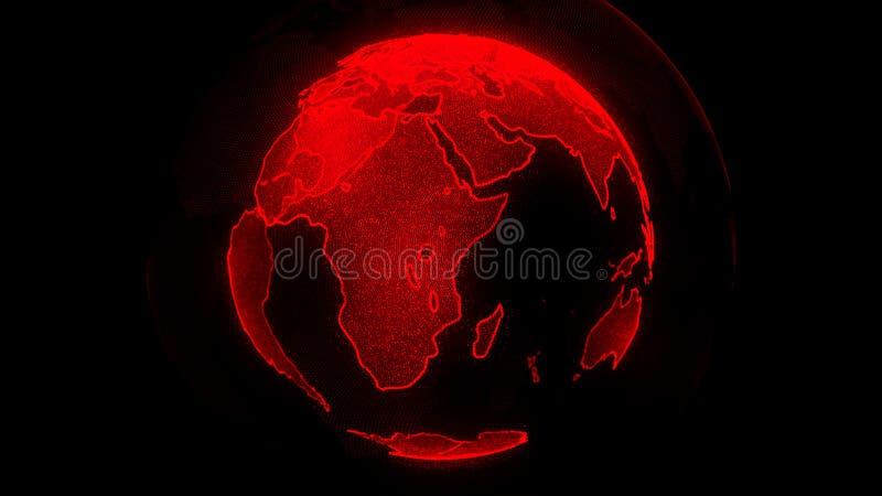 Планета цифров красная земли Глобус со светя континентами иллюстрация 3D с цифровыми землей и частицами бесплатная иллюстрация