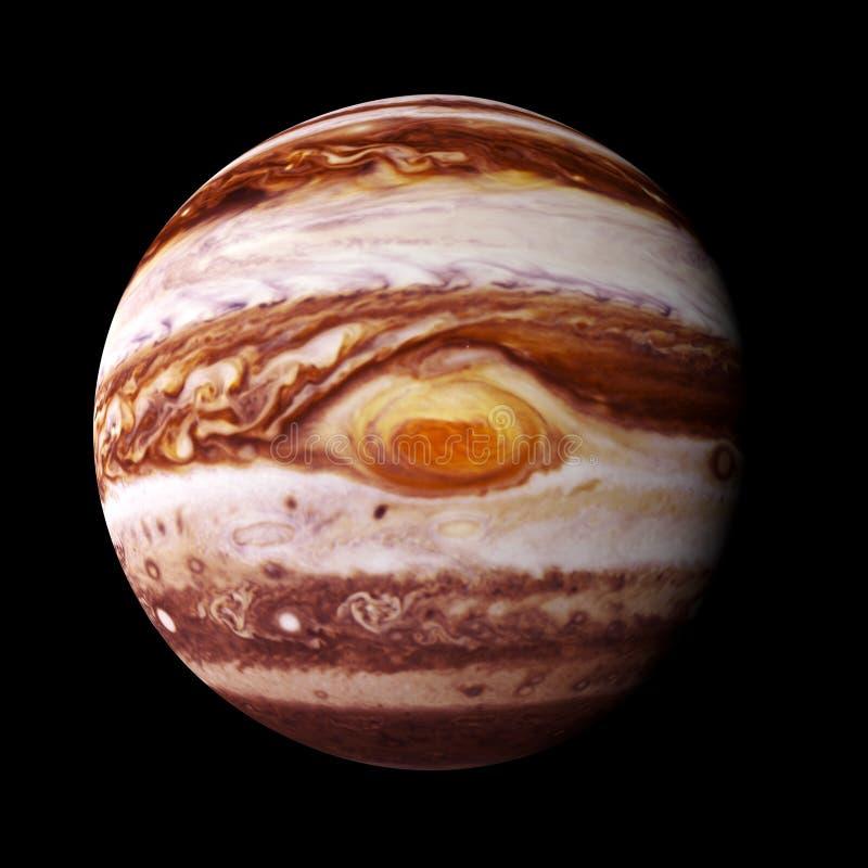 Планета Юпитер изолированный на черной предпосылке с фокусом на красном пятне, элементами этого изображения поставлена NASA стоковые фотографии rf