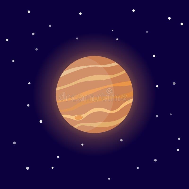 Планета Юпитер Иллюстрация вектора мультфильма на космической предпосылке бесплатная иллюстрация