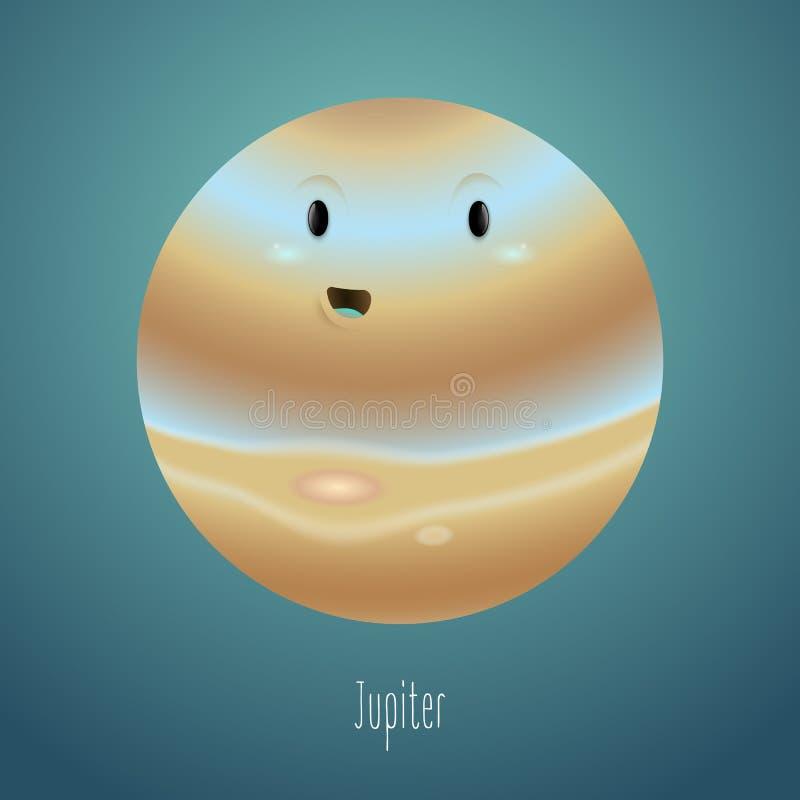 Планета Юпитер на заднем плане космоса Милый смешной характер бесплатная иллюстрация
