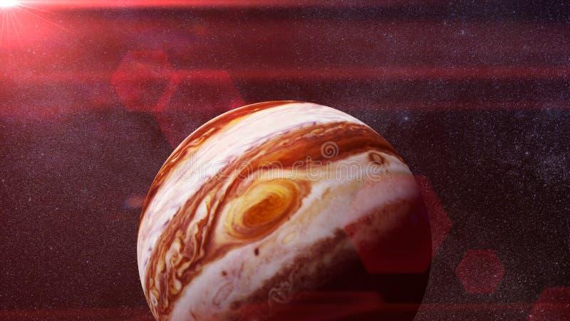 Планета Юпитер Солнце и перевод звезд 3d, элементы этого изображения поставлена NASA стоковая фотография