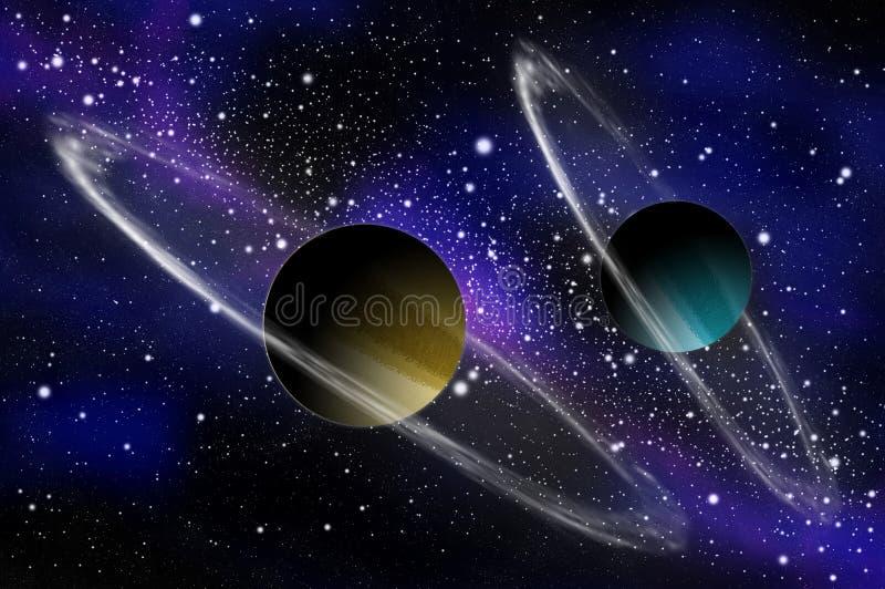 планета 2 гиганта газа иллюстрация вектора