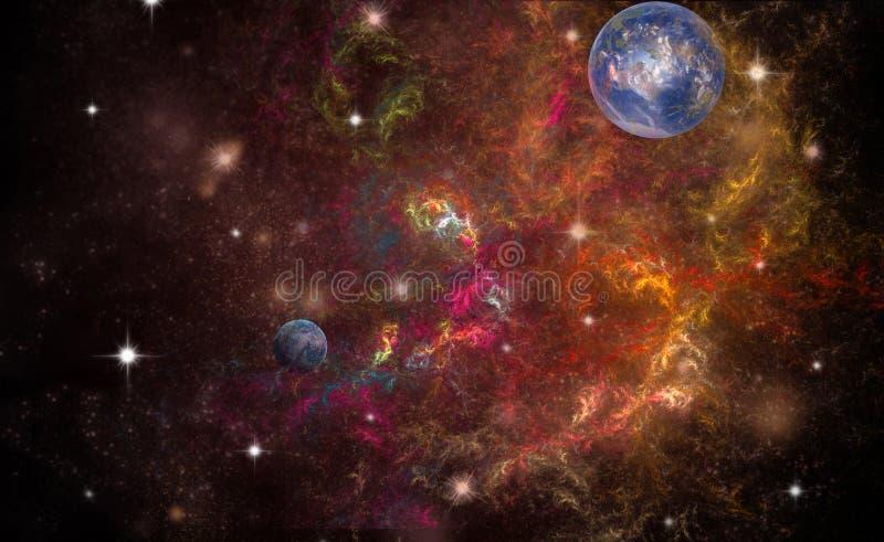 2 планеты в глубоком космосе стоковая фотография rf