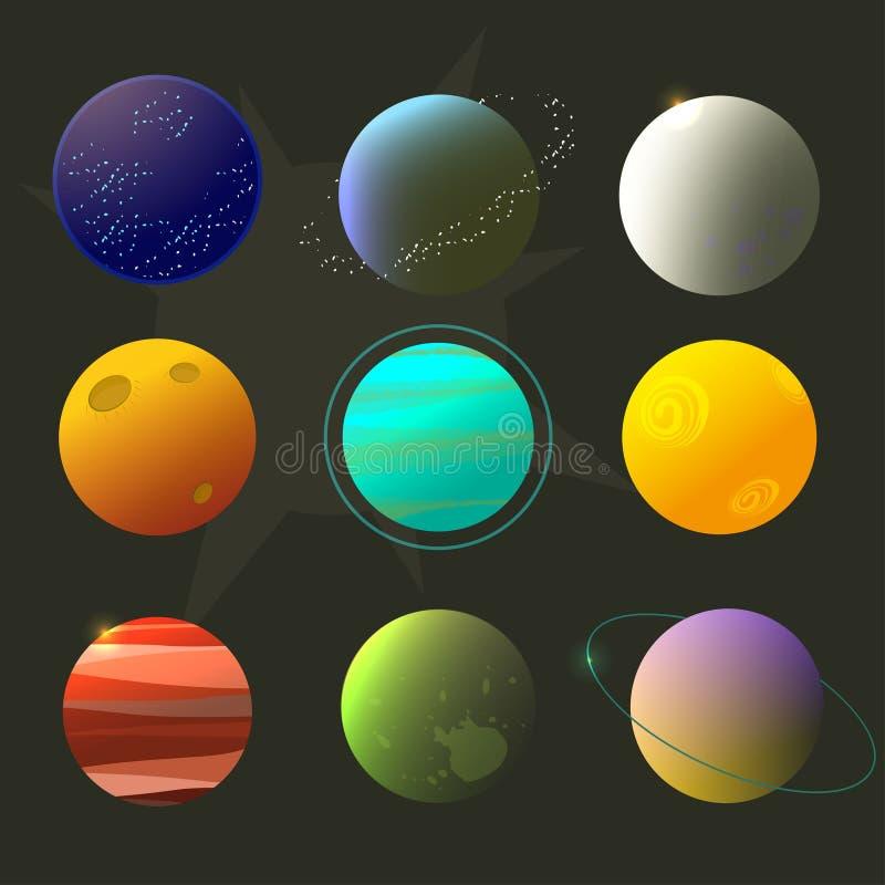 Планеты для дизайна, выдуманные планеты Spase, стиль шаржа космоса brignt иллюстрация вектора