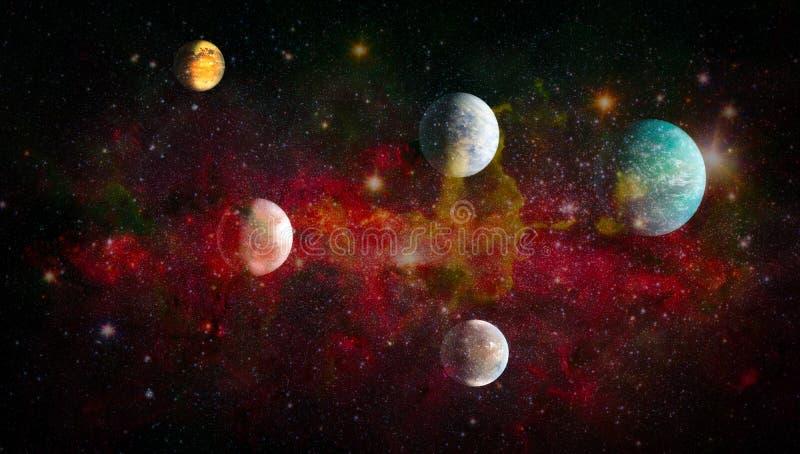 Планеты, звезды и галактики в космическом пространстве показывая красоту космического исследования Элементы поставленные NASA иллюстрация штока
