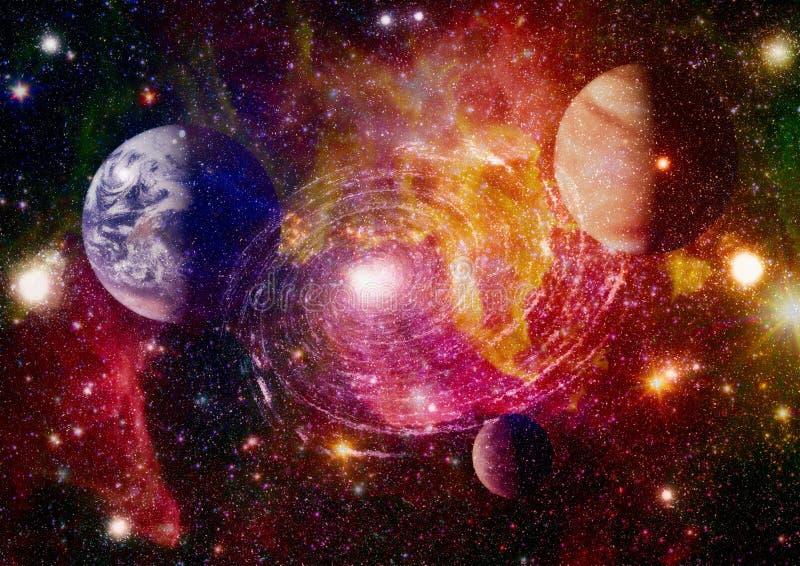 Планеты, звезды и галактики в космическом пространстве показывая красоту космического исследования Элементы поставленные NASA иллюстрация вектора