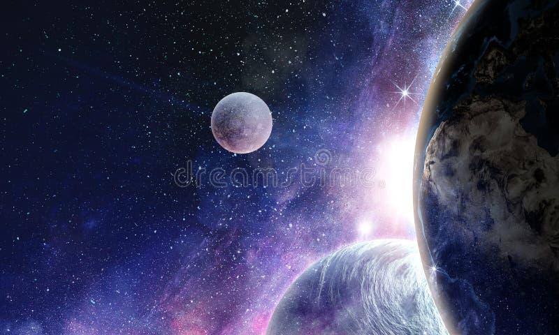 Планеты и межзвёздное облако космоса стоковая фотография