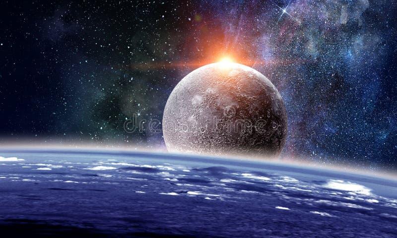 Планеты и межзвёздное облако космоса стоковое изображение rf