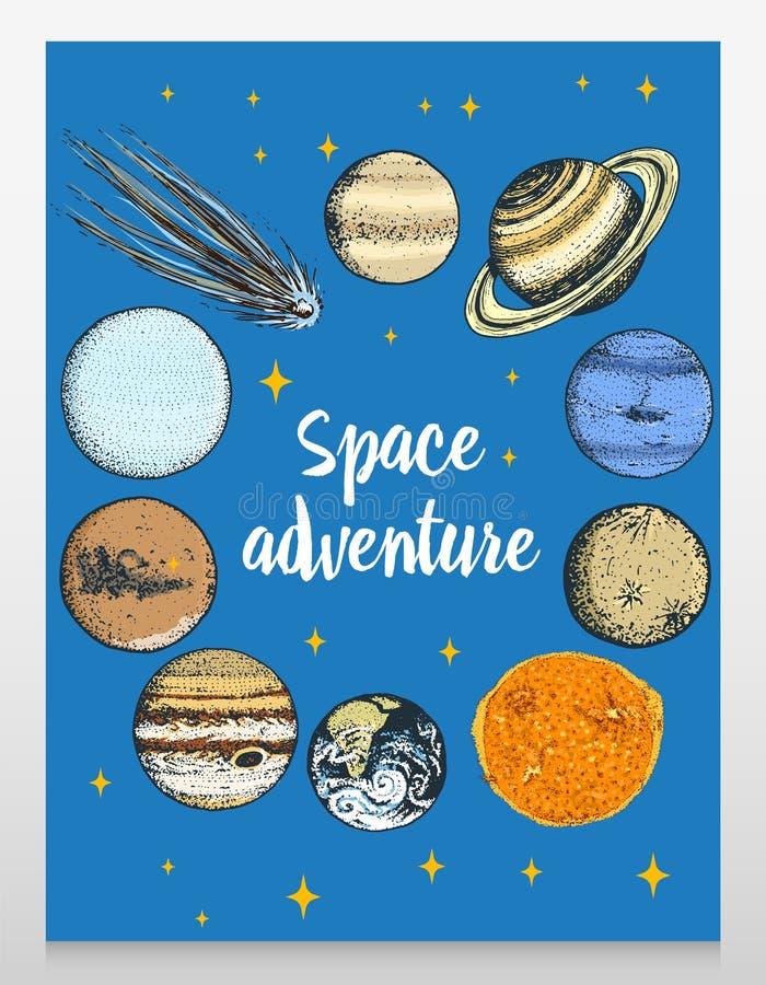 Планеты карточки в космонавте солнечной системы и астронавта луна и солнце, ртуть и земля, повреждают и Венера астролога иллюстрация вектора