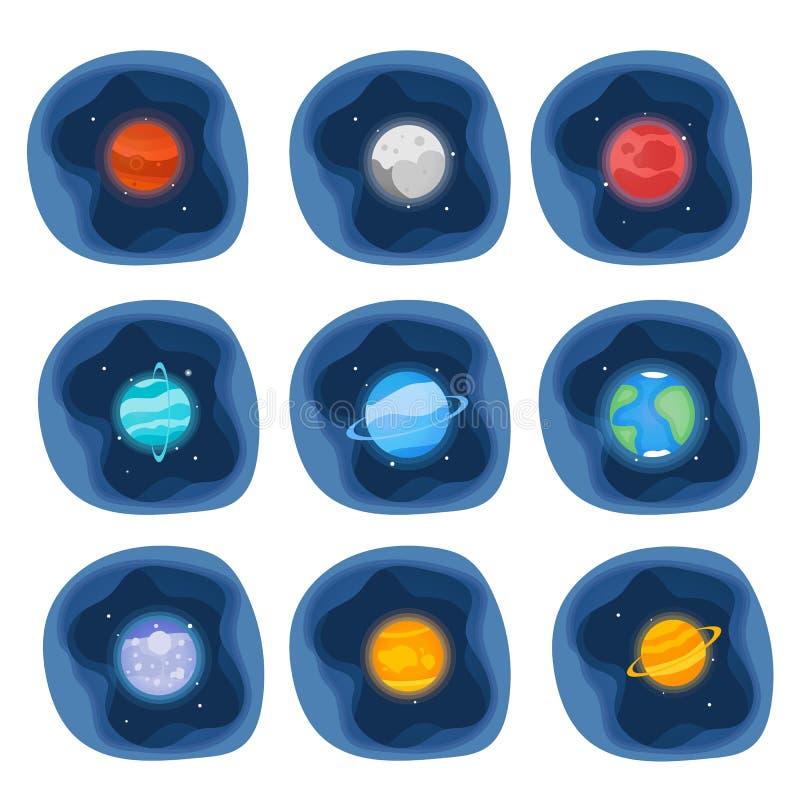 Планеты отрезка бумаги значка солнечной системы установленного Меркурий, Венера, земля, Марс, Юпитер, Сатурн, Уран, Нептун, Плуто бесплатная иллюстрация