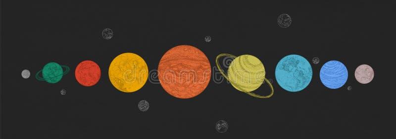 Планеты солнечной системы аранжированные в горизонтальной строке против черной предпосылки Небесные светила в космическом простра иллюстрация вектора
