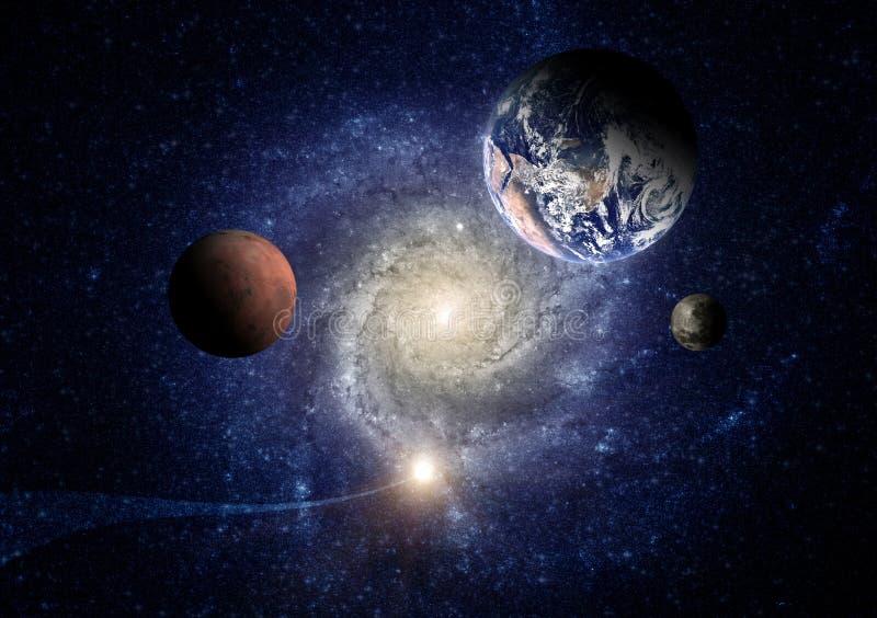 Планеты солнечной системы на фоне спиральной галактики в космосе стоковые фотографии rf